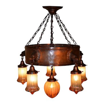 Austrian Arts and Crafts Chandelier with 6 Williamson/Teplitz Art Glass shades by Pallme Konig