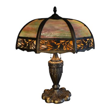 Slag Glass Panel Lamp With Pine Needle Motif Shade