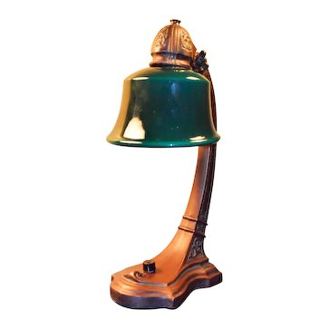 Lightolier Lamp with Signed Cased Green Glass Shade