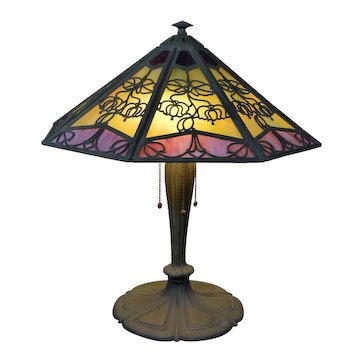 Bradley and Hubbard Arts and Crafts Slag Glass Panel Lamp with Bell Flower Motif