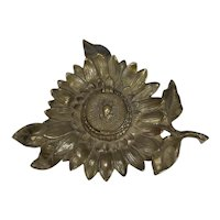 Sunflower Motif   Brass Lidded Inkwell From the Late 19th Century