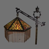 Rembrandt Signed Genie Bridge Floor Lamp With Agate Accents Slag Glass Filigree Shade