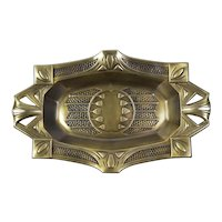Arts and Crafts European Brass Tray  With Hammered Decoration