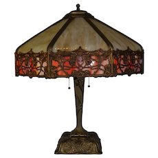 Ornate Slag Glass Lamp By The Parker Lamp Company