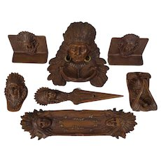 Native American Indian Chief  Seven Piece Desk Set