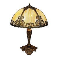 Slag Glass Panel Lamp with Strong Art Nouveau Styling