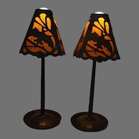 Pair of Old Halloween Cardboard and Paper Party Lamp Shades on Aurora Lamp Bases