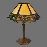 Slag Glass Panel Lamp Signed Bradley and Hubbard on Shade and Base