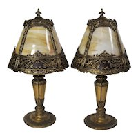 Pair of Matching Miller Slag Glass Boudoir Lamps