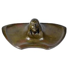 Art Nouveau Bronze Lidded Inkwell with Woman's Portrait  Head