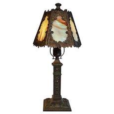 Slag Glass Boudoir Lamp with Verdigris Bronze Finish, Signed AMW