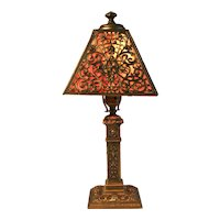 Slag Glass  Boudoir Lamp With Ornate Detailing With Pink and Red Glass