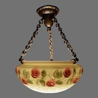 Opal Glass Bowl Chandelier with Reverse Painted Rose Motif