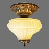 Ornate Flush Mount Ceiling Fixture with Embossed Matte Opal Glass Shade
