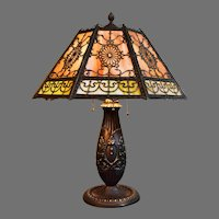 Bradley and Hubbard Signed  Slag Glass Lamp with Classical Styling