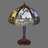 Slag Glass Panel Lamp Circa 1920's With Japanese Theme