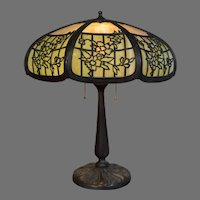Slag Glass Panel Lamp By the Empire Lamp Company with Two Color Shade