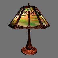 Art Nouveau Slag Glass Panel Lamp Signed Miller