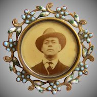 1920's Celluloid Photo Brooch With Enamel Frame