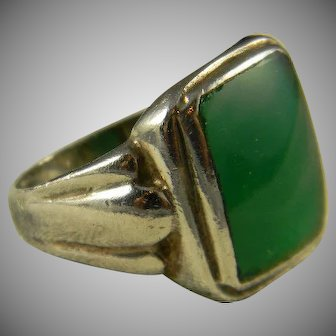 Classic Mid Century Sterling And Chrysoprase Ring