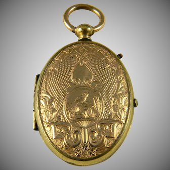 WWI Gold Filled Locket With Russian Soldier Photo