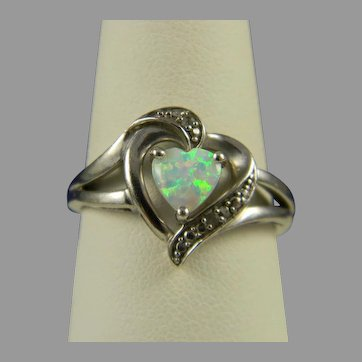 Stunning Heart Shaped Sterling And Opal Ring