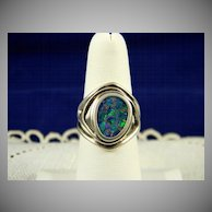 Sterling Modernist Opal Mosaic Ring