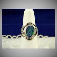 Sterling Modernist Opal Mosaic Ring