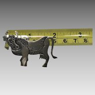 Modernistic cow sterling silver brooch