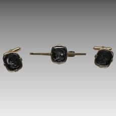 Carved hematite stones centurion soldier knight 12 k GF cufflinks and bar pin