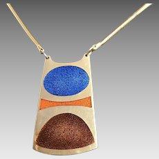 Designer De Passille Sylvestre modernist orange blue brown enamelled copper necklace