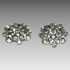 Large clip on clear rhinestone earrings Vintage Sherman