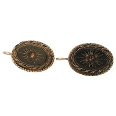 Vintage black glass earrings sphinx