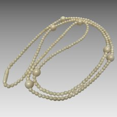 Ivory coloured vintage celluloid necklace 32 inches
