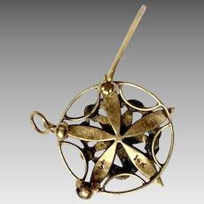 Eastern Star masonic pin/ pendant 14K gold seed pearls