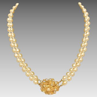Miriam Haskell 2 strand faux pearl necklace- 16 inches