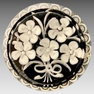 Vintage reverse carved lucite brooch- forget-me -not white flowers