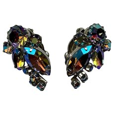 Vintage aurora borealis rhinestone signed Sherman earrings