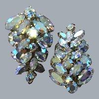 Vintage Sherman clip on aurora Borealis rhinestone earrings