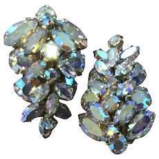 Vintage Sherman clip on aurora Borealis rhinestone earrings