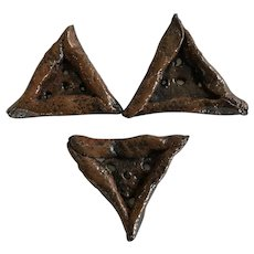 3 Hand made triangular ceramic buttons large for pillows, scarf, craft