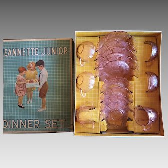 Jeanette child's junior dinner set pink depression cherry blossom complete with box