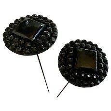 2 antique Victorian long black hat pins