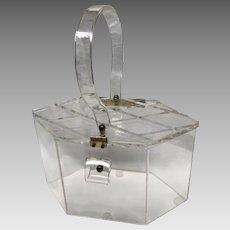 Vintage mid century transparent purse lucite- 6 sides