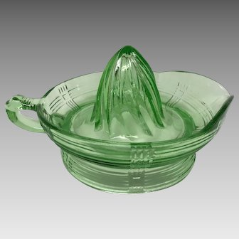 Green depression glass crisscross juicer reamer large