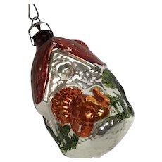 Vintage Christmas glass turkey ornament