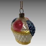 Vintage Christmas glass ornament colourful Fruit basket