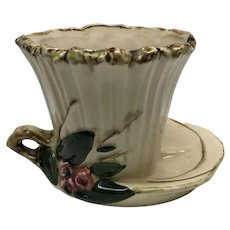 Vintage McCoy jardiniere planter flower pot  berries and lotus leaves large saucer and handle