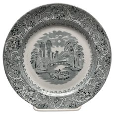 Blue transferware plate Burgess and Leigh Hill pottery Rhine castles and gondolas