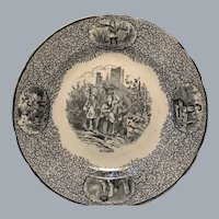 French black transferware cabinet plate October harvest fishing grapes